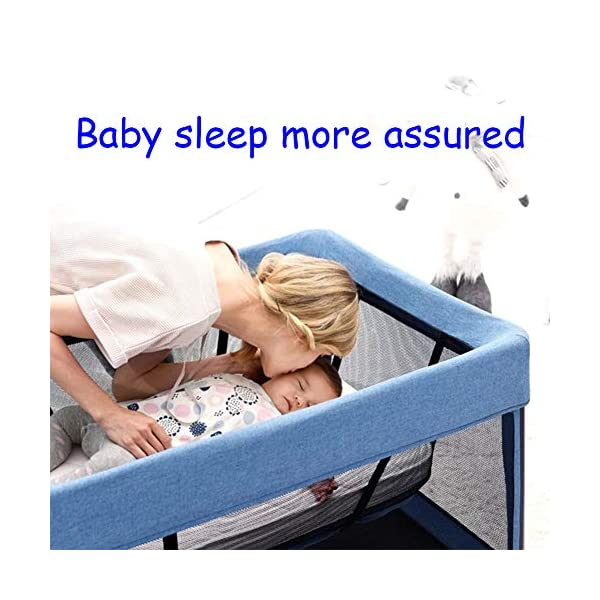 Mr.LQ Travel Cot Baby Bedside Crib Folding Sleep Play Centre with Bassinet Changing Top Mattress for 0-36 months  ♥All suits: with cradle, replacement top, equipment package, folding mattress and transport bag, toy rack, storage bag, you will be fully equipped with all travel and baby ♥ Durable high-quality materials: Aluminum frame provides a solid and stable structure for your child's safe sleep. ♥ Easy to fold: With just a few movements, this crib can be assembled and folded compactly, making your next trip very convenient. 3