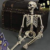 Thee, scheletro umano spaventoso, in dimensioni realistiche, decorazione per festa di Halloween skull