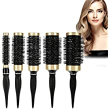 Cepillo redondo de cerámica para peinar el cabello - Cepillo secador y cepillo de curling con mango de caucho natural para mujeres y hombres - Se usa con ...