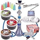 MERITON Shisha Set 2 Schläuchen mit 55cm Blau Hookah, 300gr. Shiazo Dampfsteine, Kohle, Folie und Kohlezange, Mundstücke