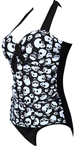 ... TDOLAH Sexy Vintage Dot Damen Badeanzug Bademode Schwimmanzug  figurformend Tankini Skelett-4 ...