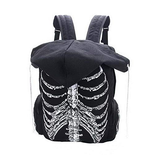 hsy Mochilas Escolares multifuncionales Unisex Esqueleto de cráneo Mochila Impresa Gótico Punk Mujeres Diseñador Bolsa de Viaje