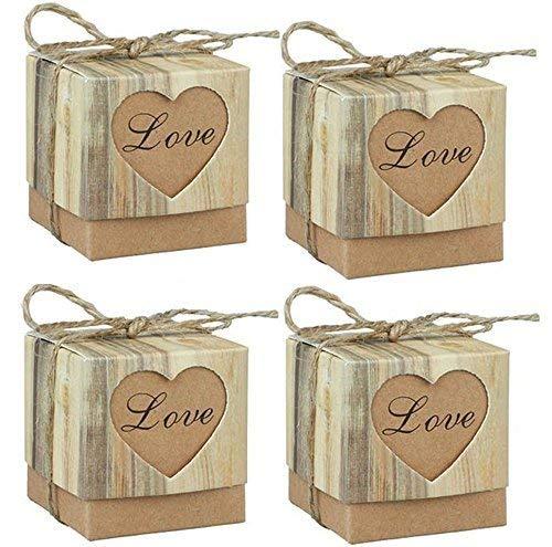 Xujiang kraft rustica - scatole per caramelle, matrimonio shabby chic iuta vintage regalo scatole un favore matrimonio favori - confezione da 100 pz