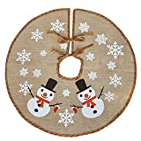 XYJIE Jute Schneeflocke Weihnachtsbaum-Dekoration, 122 cm Durchmesser, rund, für drinnen und draußen, Weihnachtsfeier, Weihnachtsdekoration