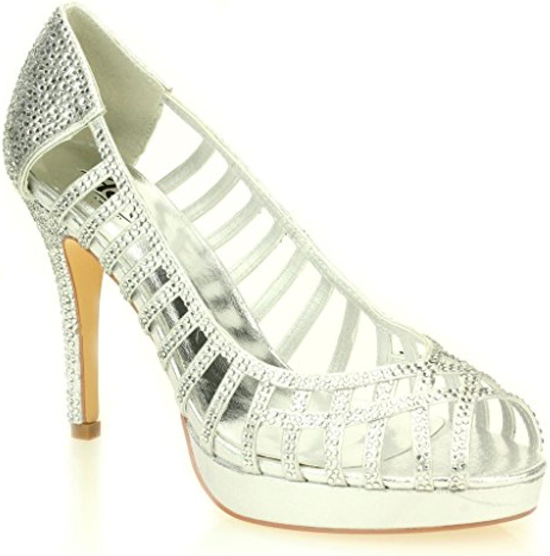 Frau Hoch Damen Abend Hochzeit Party Hoch Frau Ferse Stiletto Diamante Braut Sandale Schuhe Größe (Gold Silber Schwarz) 4ae45b