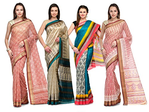 Avya Women's Cotton Printed Saree With Blouse Piece (C-10_Multicolour) - Pack Of 4