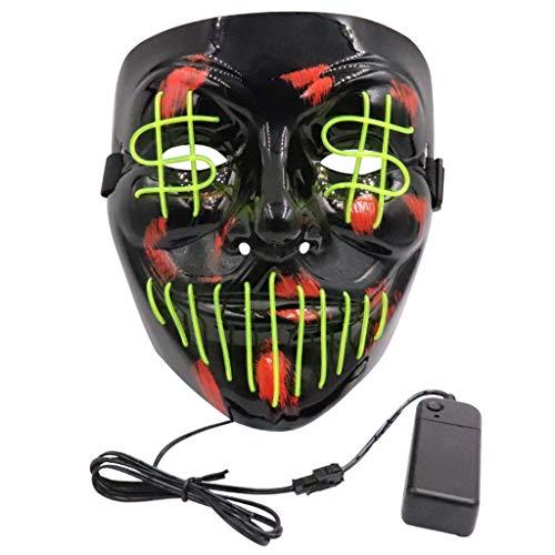 YA-Uzeun Halloween-Horror-Maske mit LED-Licht, für Festival, Cosplay, Kostüm, Maskenball, Aktivitäten und - Solar Power Kostüm