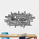 Willkommen In Verschiedenen Sprachen Wandtattoo Zeichen Büro Poster Zitat Motivations Geschenk Vinyl Aufkleber Business Decor Wandbild 57 * 103 Cm