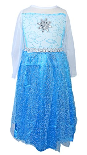 Eis-Prinzessin-Kostüm Kinder-Kostüm Elsa-Verkleidung 7-8 Jahre Gr.130 Ball-Kleid Glitzer-Karneval Mädchen Halloween (Tutu Königin Der Herzen)