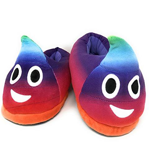 Desire deluxe pantofole peluche emoji - pantofole donna e pantofole uomo invernali - emoji cacca arcobaleno per idea regalo divertente - taglia unica