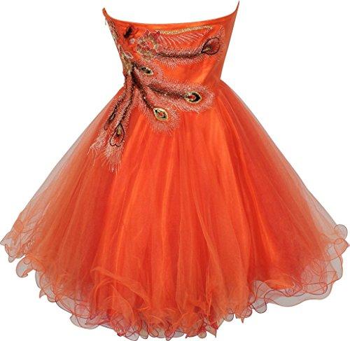 Eudolah Robe de soirée/cérémonie ornée de broderies en fleurs et plumes style tutu Femme Orange