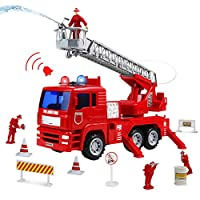Symiu Fire Engine Toy Fire Truck Car with Water Pump Extendable Ladder Truck Accessories Role Play Game for Kids Boys Girls 3 4 5 Years Old