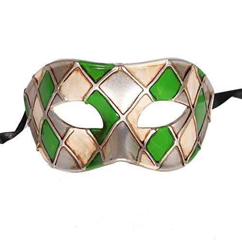 Xvevina karierte venezianische Maske für Herren zum Verkleiden an (Halloween Customes Herren)