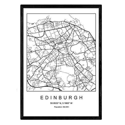 Nacnic Drucken Edinburgh Stadtplan nordischen Stil schwarz und weiß. A3 Größe Plakatrahmen Das Bedruckte Papier Keine 250 gr. Gemälde, Drucke und Poster für Wohnzimmer und Schlafzimmer