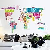 Rainbow Fox Parole inglesi Mappa del mondo parete di arte della decalcomania del vinile per l'Parlour televisivi Walls dirigono la decalcomania