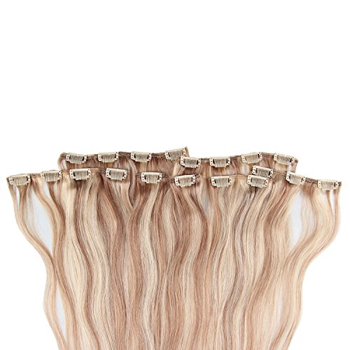 Beauty7 120g Extensions de Cheveux Humains à Clip 100% Remy Hair Haute Qualité #18/613 Couleur Marron Blonde Longueur 60 cm
