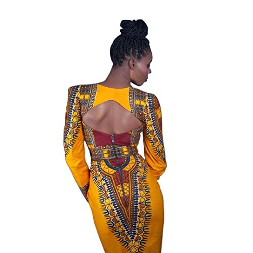 Femme Robe, Tonsee Été Casual col v profond traditionnel africain parti Backless robe imprimée Jaune