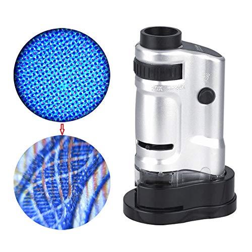 Jiusion Tragbares Mini-Mikroskop-Lupe, 20-fache Vergrößerung, Handheld-Compound Digital-Zielfernrohr mit LED-Beleuchtung für Schmuck, Geldmünzen, Inspektion