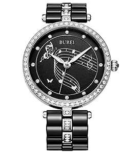 BUREI Elegante Damen Armbanduhr fürs Kleid mit Diamantkristall Gehäuse und Keramikarmband