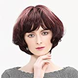Meylee Perruques Mélange élégant des cheveux humains Bob perruques pour femmes 100 cheveux vierges brésiliens perruque BOBO bouclés brun brillant coiffure avec perruque libre Cap et peigne