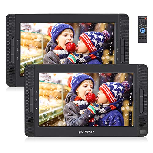 Pumpkin Lettore dvd auto portatile bambini poggiatesta con doppio 10.1'schermo, supporta usb/sd/mmc, supporta regione f