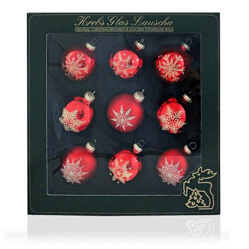 Weihnachtskugeln Christbaumkugeln, Set von 9 Kugeln mit Sternen und Schneeflocken, matt und glänzend, roter mundgeblasener Baumschmuck aus Glas mit Ø ca. 8 cm