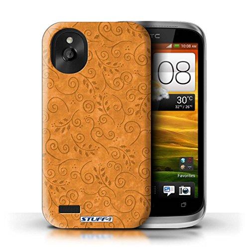 Kobalt® Imprimé Etui / Coque pour HTC Desire X / Turquoise conception / Série Motif Feuille Remous Orange