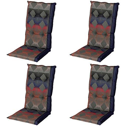 Schwar Textilien Stuhlauflage Hochlehner Gartenstuhlauflage Sitzauflage ca. 8cm Dick 4er Set Retro