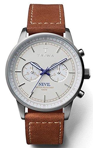 Triwa Ivory Nevil Unisex Chrono Watch Sewn Brown Leather Strap NEST112 SC010215