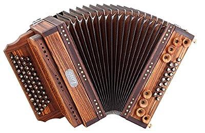 Loib Harmonika IVD Zebrano F-B-Es-As (46 Diskantknöpfe (2 Halbtöne in Serie wie Michlbauer), 9 kräftige Helikonbässe, Mollbässe, H- und X-Bass, 7 Harmonien, Stimmzungen: Tipo a mano, Holzverdeck)