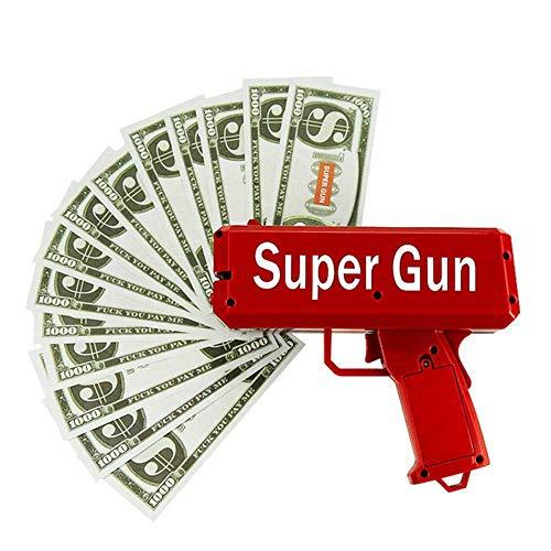 Pawaca Geld Pistole Spielzeug Money Gun, Spritzpistole Mit 100 Stück Gefälschtes Geld - Lass Es Regen Cash Gun Party Spiel (Gefälschte Geld Für Kinder)