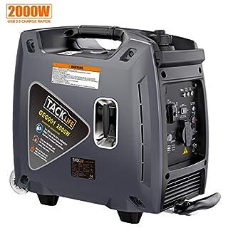 TACKLIFE Groupe Electrogène Silencieux, 2000W Générateur Electrique à Essence, Onduleur, Charge USB 3.0, 4.2L Réservoir d'essence, Bagage avec 2 Roues - GEG001