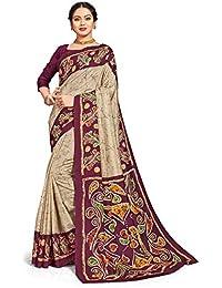 Miraan Women's Silk Blend Saree With Blouse Piece