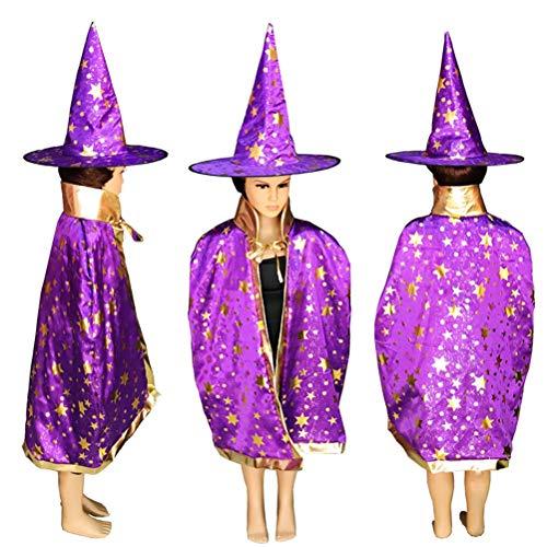 Glitter Kostüm Hexe - NUOBESTY Kinder Halloween Kostüm Glitter Stars Halloween Cosplay Mantel Hexe Mantel für Mädchen Jungen Mantel mit Hut
