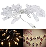 chrislz Foto Clip Lichterkette 100 Foto Clips 10 m LED Bild Licht Weihnachten Beleuchtung Starry Licht Wand Hochzeit Party Dekoration Light USB Lichterkette, 100LED