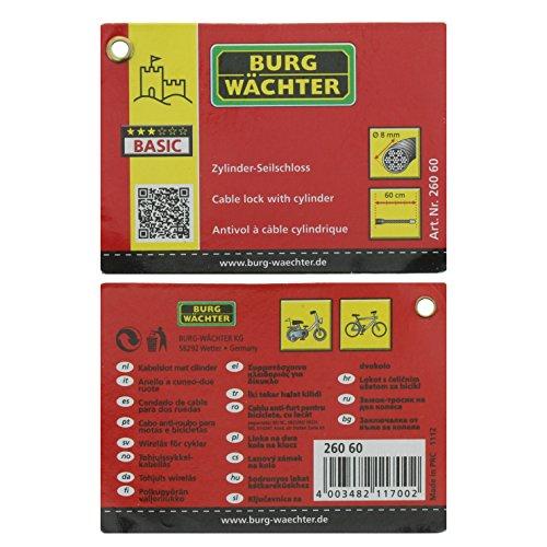 BURG-WÄCHTER Stahlseilschloss, 2 Schlüssel, Länge: 60 cm, 260 60 - 5