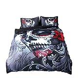 4pcs Housse de couette Définit 3d Impression Joker Parure de lit Tête de mort...