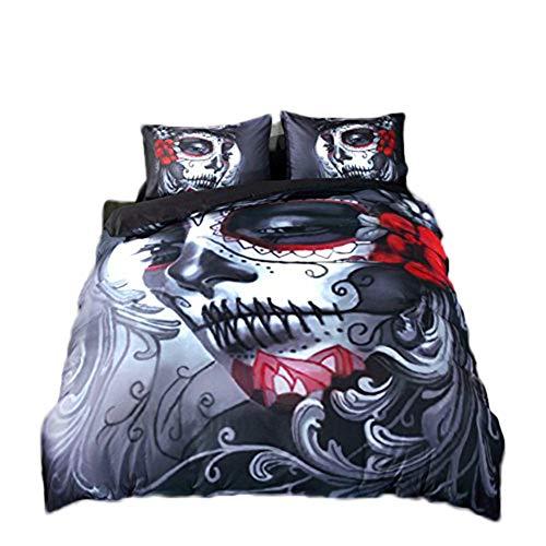 4 pc funda de edredón juegos 3d impresión Joker Calavera ropa de cama, funda de edredón sábana y funda de almohada de cráneo de Halloween, Rojo, 220*240cm for 1.8 Bed