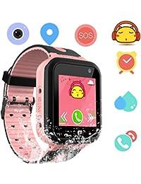 Smartwatch Impermeable para niños para niñas - IP67 Resistente al Agua para niños SmartWatch con GPS/lbs Tracker SOS Camera Anti-Juego perdido para niños y niñas (S7-Pink)