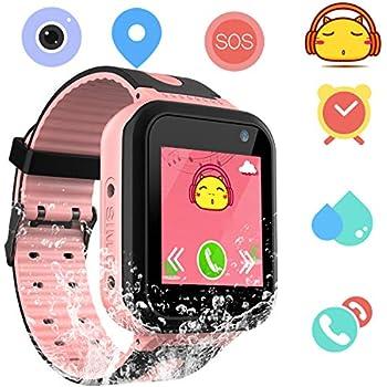 Smartwatch Impermeable para niños para niñas - IP67 Resistente al Agua para niños SmartWatch con GPS/lbs Tracker SOS Camera Anti-Juego perdido para niños y ...