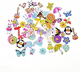 iDream Colourful Animal Style Wooden Button for Sewing Scrapbook DIY - Pack of 40