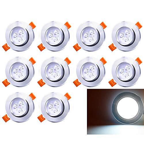 10 LED Einbaustrahler Schwenkbar 230V Einbauspot 3W Leuchtmittel Kaltweiß 10er Set Deckenstrahler -