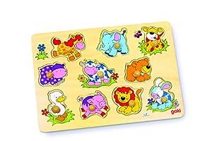 Goki-57838 Puzzles de maderaPuzzles de maderaGOKIPuzzle cachorritos II, Multicolor (Gollnest & Kiesel 57838.0)