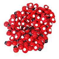 Mini Sized Red Wooden Ladybug Ladybird Sponge Self-adhesive Stickers Cute Baby Fridge Magnets For Scrap booking Home Decoration 100 Pieces Red