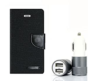 Aart Fancy Wallet Dairy Jeans Flip Case Cover for Micromax-Q372 (Black) + Dual USB Port Car Charger with Smartest & Fastest Technology by Aart Store.