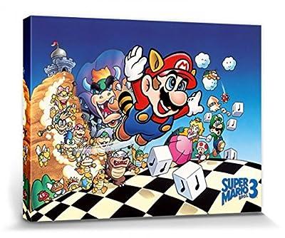 1art1® Super Mario Poster Reproduction Sur Toile, Tendue Sur Châssis - Bros. 3, Princesse Peach, Luigi (40 x 30 cm)