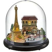 umisky DIY Glass Ball Dolls House - Mini Miniature Scene Plastic - Handcraft Miniature Kit - Green Garden LED Light & Music box (O)