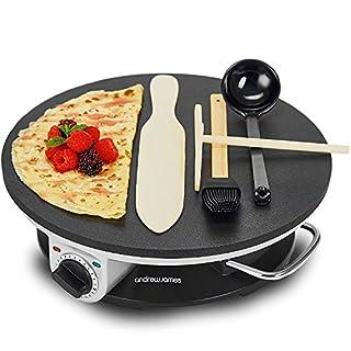 Andrew James Crepes Maker | Elektrische Pfannkuchen Crepespfanne Maschine | 1200W | Antihaftbeschichtung und Zubehörset