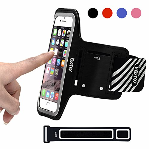 EOTW Sportarmband Handyhülle universell passend für iPhone, Samsung, HTC, usw., Oberarmtasche In Verschiedenen Farben und Größen für Laufen (5,5 Zoll, Schwarz)
