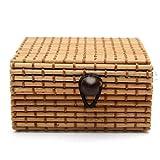 feiXIANG Aufbewahrung aufbewahrungsbox Schmuck Ring Ohrringe Container Bambus Holz Fall (C)